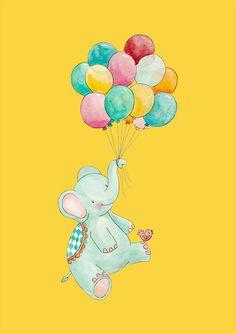Circus Nursery Art Balloon Nursery Art Elephant by PoppyandScout
