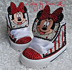 These Minnie Mouse customs are so darling. They can be customized in any color or size. High quality crystals are used for a clean look. They can be personalized with a letter or number of your choosing if youd like. Cute Baby Shoes, Baby Girl Shoes, Kid Shoes, Girls Shoes, Bling Converse, Baby Converse, Custom Converse, Bedazzled Shoes, Bling Shoes