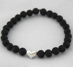 Burning Love <3 Lava stone bracelet with Sterling Silver Heart, Inspirational Energy Bracelet, Mothers day gift, Friendship Bracelet, Mala