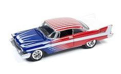 Johnny Lightning Street Freaks Diecast Vehicle - 1958 Plymouth Belvedere Bright Red with Blue/White Graphics