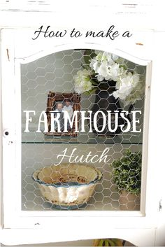 Great DIY tutorial on how to transform any hutch into a cute farmhouse style hutch. Teaches how to make chalk paint, how to use it in a HVLP sprayer, and how to attach chicken wire to the doors.