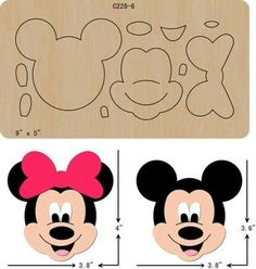 New Mickey,Wooden Die , Cutting Dies , Scrapbooking Minnie Mouse Cake, Mickey Mouse Birthday, Felt Patterns, Craft Patterns, Canvas Patterns, Felt Crafts, Paper Crafts, Theme Mickey, Monster High Dolls