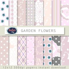 Floral digital paper GARDEN FLOWERS background pink, polka dot, floral paper, printable paper, spring pattern, plaid paper, flower paper. #bestofEtsy #digitalpaper