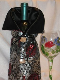 Chinese Brocade With Red And Silver Flowers Wine by JosieeDesigns, $12.00