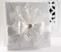 White on White Card with spellbinders damask motifs  --- White-on-White #WhiteOnWhite White on White