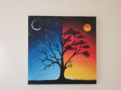 here's a beautiful day and night scenery painting in acrylics on canvas. it was a quick and easy painting. Sunset Canvas Painting, Diy Art Painting, Painting Art Lesson, Canvas Drawings, Nature Art Painting, Amazing Art Painting, Nature Canvas Painting, Diy Canvas Art Painting, Creative Painting