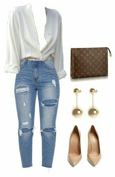 Knee joint and thigh rip jeans, LV bag, Saint Laurent pumps and JW AN . - Knee joint and thigh rip jeans, LV bag, Saint Laurent pumps and JW ANDERSON boules earrings – # 3 - Classy Outfits, Chic Outfits, Trendy Outfits, Fall Outfits, Summer Outfits, Fashion Outfits, Womens Fashion, Dress Fashion, Fashion Clothes