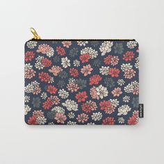 Water Lilies Pattern Carry-All Pouch #faerieshop #tropical #floral #succulents #plants #lotus #pattern #water #lily #flowers #drawing #art #illustration #liles #retro #blossom #blue #ornament #shopping #society6 #accessories #bags #cosmetic #buy