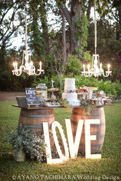rustic wedding barrels decor 2