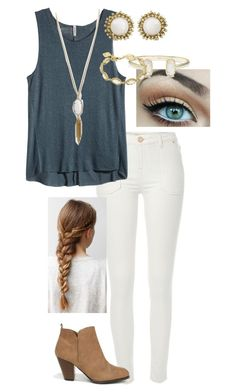 """""""""""K"""" ~ Kendra Scott"""" by raeganwhite20 ❤ liked on Polyvore featuring River Island, H&M, Kendra Scott and Qupid"""