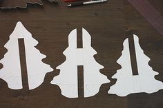 template for 3D trees. this is for a gingerbread tree, but i bet these would be great cardboard trees that could even be used in a christmas play date craft or to decorate the mantle