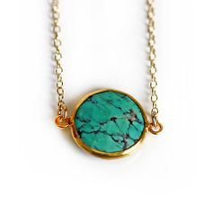 green TURQUOISE coin bezel necklace, LOVE this