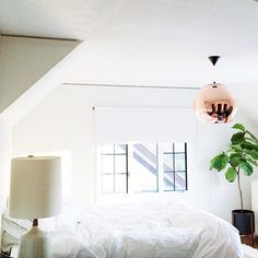 """""""New lighting from @allmodern came this weekend! Still puzzled on what to do for drapes and bed frame. Any suggestions? #mymodern"""""""