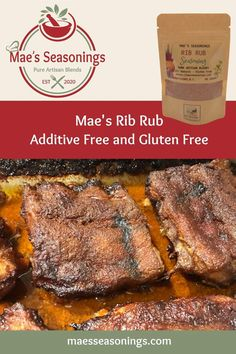 Mae's Seasonings Rib Rub will intensify the flavour on any rack of ribs. You get finger-licking results with this rib rub! Our Rib Rub blend combines quality spices including paprika, garlic and chili powder to name a few; plus has a hint of brown sugar, salt and pepper. Mae's Seasonings rib rub brings with it a heavenly explosion of flavour. Eliminate the guesswork before you make that next rack of ribs and use Mae's Rib Rub Seasoning which is made with no artificial preservatives. Bbq Ribs, Pork Ribs, Pork Chops, Pulled Pork, Rib Recipes, Chicken Recipes, Rack Of Ribs, Rib Rub, Natural Spice