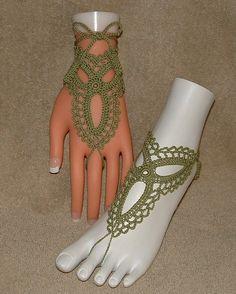 Crochet Barefoot Sandals Bracelet Rings Anklets Crochet Bracelets