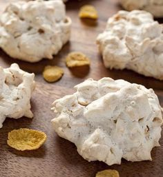 Cornflake Almond Macaroons-A cross between a meringue and a macaroon, these airy cookies are crispy on the outside and chewy on the inside and packed with cornflakes, slivered almonds and coconut.