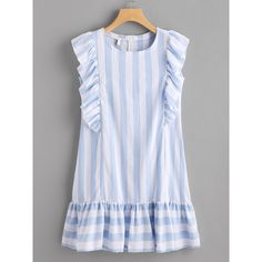 SheIn offers Contrast Striped Frill Trim Dress & more to fit your fashionable needs. Simple Dresses, Casual Dresses, Short Dresses, Fashion Dresses, Girls Dresses, Summer Dresses, Tunic Dresses, Sleeve Dresses, Pretty Dresses