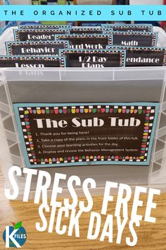 First year teaching - The Sub Tub A Must Have for Alleviating Stress When Calling in Sick! – First year teaching Teachers Room, New Teachers, Elementary Teacher, School Teacher, Elementary Education, Middle School Classroom, New Classroom, Kindergarten Classroom, Classroom Ideas