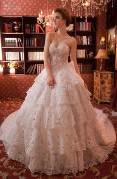 Wholesale Ball Gown Wedding Dresses - Buy Promotion !! 2013 New Hot Sexy Big Sweep Train Crystal Acrylic Mosaic Beaded Corset Strapless Slim Wedding Dress Lace Bridal Gowns., $831.0   DHgate