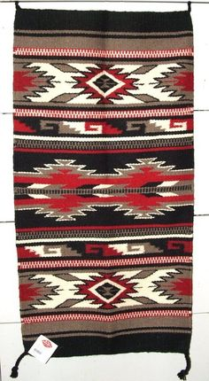 "Sharp looking wool throw rug in black, gray, red & white. 20x40"" with tassled corners. Handwoven.  $39.95 w/ free shipping! #rug #homedecor #throwrug #southwestern"