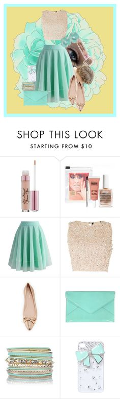 """Golden Teal"" by gabi-girl ❤ liked on Polyvore featuring Ultimate, Too Faced Cosmetics, Obsessive Compulsive Cosmetics, Chicwish, Lace & Beads, Kate Spade, Tiffany & Co. and Wet Seal"