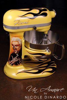 Guy Fieri's custom painted KitchenAid Mixer by Nicole Dinardo of Un Amore. Toy Kitchen, Kitchen Aid Mixer, Kitchen Utensils, Kitchen Gadgets, Kitchen Appliances, Kitchen Tips, Kitchen Ideas, Electric Skillet Recipes, Sports Man Cave