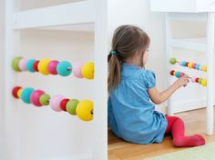 mommo design: 10 DIYs FOR KIDS Desk Abacus and more great ideas! Pom Pom monogram is cute, too! Crafts For Kids To Make, Gifts For Kids, Kids Corner, Kid Spaces, Kids House, In Kindergarten, Kids Learning, Kids Playing, Playroom