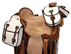 Canvas Horn bags with single leather buckle adjustments. Dees for tying to saddle. Horse Gear, Horse Tack, Trail Riding, Leather Buckle, Saddle Bags, Leather Backpack, Backpacks, Canvas Bags, Equestrian
