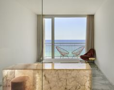 The Hotel Aromar is a singular four-stars hotel located on the Costa Brava (Spain) whose renovation project is the work of and produced by Nerinea. All its furniture is made with semiprecious stones of onyx and quartz. Natural Stones, Oversized Mirror, Costa, Spanish, Marble, Quartz, Windows, Stars, Nature
