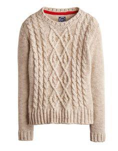 Joules null Womens Cable Knit Jumper, Almond Melange.                     Bursting with homespun charm and character, this chunky-knit jumper could have come hot off your Granny's knitting needles. As rich with texture as you could wish for and a perfect piece all season long.