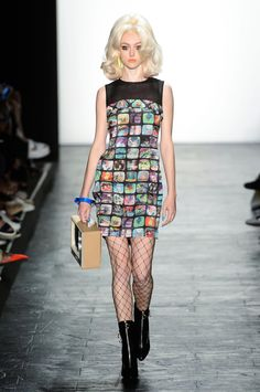 Jeremy Scott RTW SS16 - the print is TV screens with a TV bag!!!