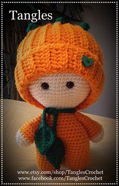 Calabaza Baby muñeca de cabeza grande por TanglesCrochet en Etsy
