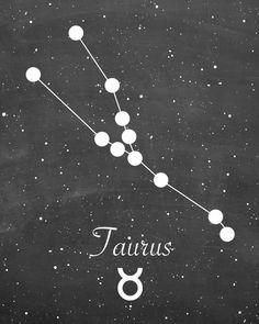 Taurus Zodiac Constellation Chalkboard Style by 1thirteen on Etsy