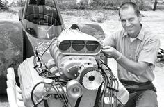 Pete is wearing his usual smile. This 1966 photo shows the blower Ford Racing Engines, Riverside Raceway, Bone Stock, Top Fuel Dragster, Gear Drive, Old Race Cars, Car Set, Drag Cars, Car Humor
