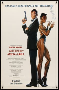 A VIEW TO A KILL (1985) Moore's last outing as 007. This time he's pitted against a madman trying to drown Silicon Valley by exploding a bomb in the San Andreas fault. Walken is suitably Walkenesque, though the scariest villain is Grace Jones! This advance poster is in superb original rolled condition | Picture Palace Movie Posters