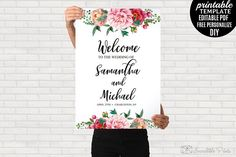Watercolor Wedding Welcome Poster by Incredible Prints on @creativemarket