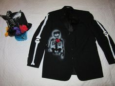 Day of the Dead mens tux jacket unique by RestyledCostumes on Etsy