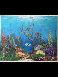 Beach Mural, Beach Art, Beach Room, Coral Reef Art, Coral Painting, Ocean Drawing, Sea Turtle Painting, Underwater Painting, Sea Life Art