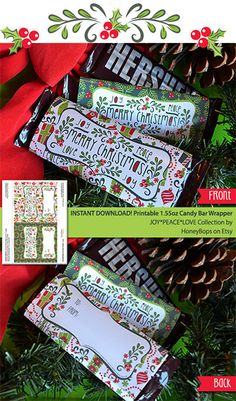 Christmas Joy-Peace-Love Printable 155oz Candy Bar Wrappers by HoneyBops, $6.95 #Christmas #candy #bar #wrapper #peace #joy #love #holiday #xmas #printable #party #DIY #event #digital #instant #download
