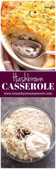 Hashbrown Casserole Recipe - creamy and cheesy bake with just a few ingredients! www.crunchycreamysweet.com