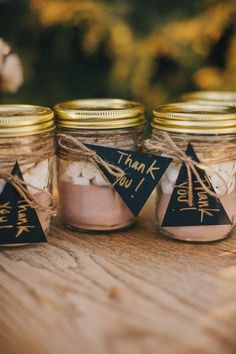 Inspiration for making your own hot chocolate wedding favours: eco-chic spoons for stirring or jars of homemade cocoa mix