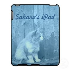 Blue Sahara (Cat) iPad case *PERSONALIZE*  Customize/personalize this cool blue kitty iPad case with you name or message.