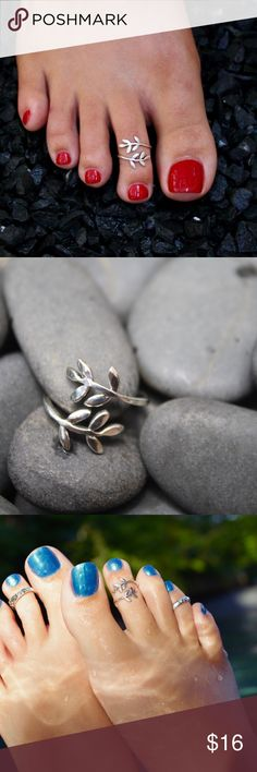 Sterling Silver Toe Ring - Leaf 925 Stamped Sterling Silver Toe Ring designed in a beautiful wraparound Leaf.  This is one of my favorites!  Face is 13mm.  Adjustable for your comfort - one size fits all. Adjustment is made from the front of the ring.  Adorn your toes this summer! Can be worn with flip flops and open toed shoes. You can mix it up by wearing this as a midi or pinky ring.    Disclaimer: Photos above may show multiple toe rings but this sale is only for one toe ring described…