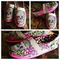 Custom Sugar Skull Tom's by PrettyInPunkArt on Etsy from PrettyInPunkArt on Etsy. Saved to shoes. Cheap Toms Shoes, Toms Shoes Outlet, On Shoes, Me Too Shoes, Shoe Boots, Free Shoes, Shoes Men, Punk, Sharpie Shoes