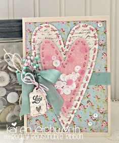 Hello to all our ribbon-loving friends, and welcome by! It& Karen Letchworth posting today and sharing a sweet Valentine I made using so. Fabric Cards, Paper Cards, Pretty Cards, Cute Cards, Valentine Crafts, Valentine Day Cards, Scrapbooking Shabby, Shabby Chic Cards, Creative Cards