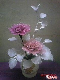 . Nylon Flowers, Cloth Flowers, Plastic Flowers, Satin Flowers, Glass Flowers, Diy Flowers, Fabric Flowers, Paper Flowers, Flower Crafts