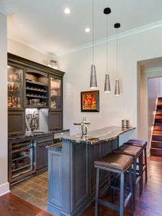 Living Room Bar Ideas Navy Blue And Red Chic Features Dark Stained Shaker Cabinets Paired Browse Pictures Of Home At Hgtv Remodels For Inspiration On Your Basement Bonus Lounge Or Theater Space