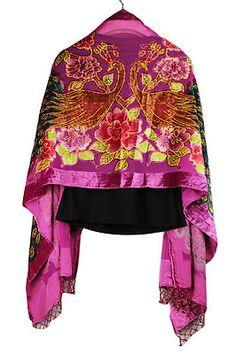Magenta Hand Beaded 100 Silk Velvet Shawl Scarf Wrap with Peacock Peony | eBay