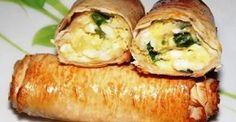 Lusta tojásos újhagymás tekercs, mire kettőt fordulsz el is készül ez az ínycsiklandó finomság! Hungarian Recipes, Mini Pies, Scones, Baked Potato, Sushi, Sausage, Bakery, Good Food, Paleo