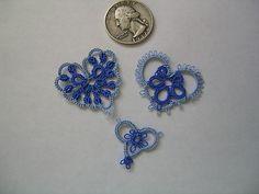 Tatting Mini Tatted Hearts in Blue | eBay